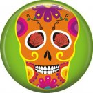 Orange Sugar Skull on Lime Green Background, Dia de los Muertos 1 Inch Button Badge Pin - 6263