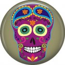 Purple Sugar Skull on Drab Green Background, Dia de los Muertos Button Badge Pin - 6264