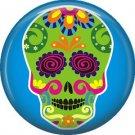 Lime Green Sugar Skull on Blue Background, Dia de los Muertos Button Badge Pin - 6265