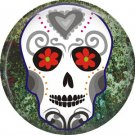 White Sugar Skull on Green Marbled Background, Dia de los Muertos Button Badge Pin - 6266