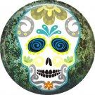 Sugar Skull on Green Marbled Background, Dia de los Muertos Button Badge Pin - 6267