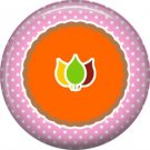 Fall Leaves on Pink Polka Dot Background, 1 Inch Thanksgiving Pinback Button - 3070