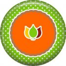Fall Leaves on Green Polka Dot Background, 1 Inch Thanksgiving Pinback Button - 3079