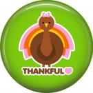 Thankful Turkey on Green Background, 1 Inch Thanksgiving Pinback Button - 3081