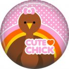 Cute Chick Turkey on Pink Polka Dot Background, 1 Inch Thanksgiving Pinback Button - 3082
