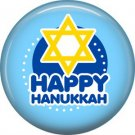 Happy Hanukkah on Light Blue Background, 1 Inch  Pinback Button Badge Pin - 3050
