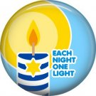 Each Night One Light on Light Blue Background, 1 Inch Happy Hannukkah Pinback Button Badge - 3052