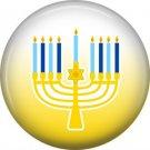 Menorah on Yellow Background, 1 Inch Happy Hannukkah Pinback Button Badge - 3053
