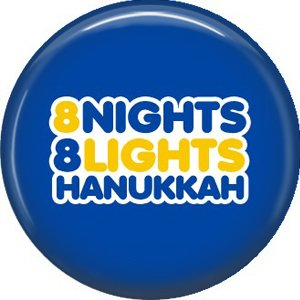 8 Nights 8 Lights on Dark Blue Background, 1 Inch Happy Hannukkah Pinback Button Badge Pin - 3058