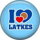I Love Latkes on Light Blue Background, 1 Inch Happy Hannukkah Pinback Button Badge Pin - 3059
