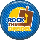 Rock the Dreidel on Dark Blue Background, 1 Inch Happy Hannukkah Pinback Button Badge - 3060
