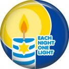 Each Night One Light on Dark Blue Background, 1 Inch Happy Hannukkah Pinback Button Badge - 3062