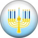 Menorah on Blue Background, 1 Inch Happy Hannukkah Pinback Button Badge - 3061