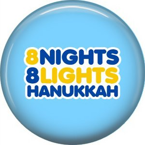 8 Nights 8 Lights on Light Blue Background, 1 Inch Happy Hannukkah Pinback Button Badge Pin - 3063