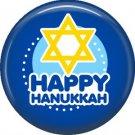 Happy Hanukkah on Dark Blue Background, 1 Inch  Pinback Button Badge Pin - 3064