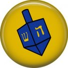 Dreidel on Gold Background, 1 Inch Hanukkah Pinback Button Badge Pin - 3065