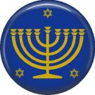 Menorah with Star of David, 1 Inch Hanukkah Pinback Button Badge Pin - 3067