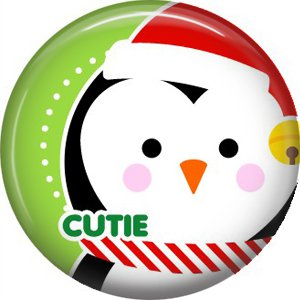 Cutie Santa Penguin, 1 Inch Be Merry Christmas Button Badge Pinback - 3037