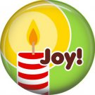 Joy Candle, 1 Inch Be Merry Pinback Button Badge Pin - 3039