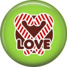 Candy Cane Heart Love, 1 Inch Be Merry Pinback Button Badge Pin - 3047