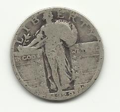 1929 #3  90% Silver Standing Liberty Quarter.