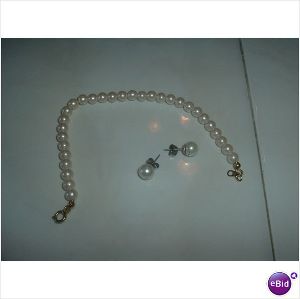New Genuine Pearl Bracelet and Earring Set