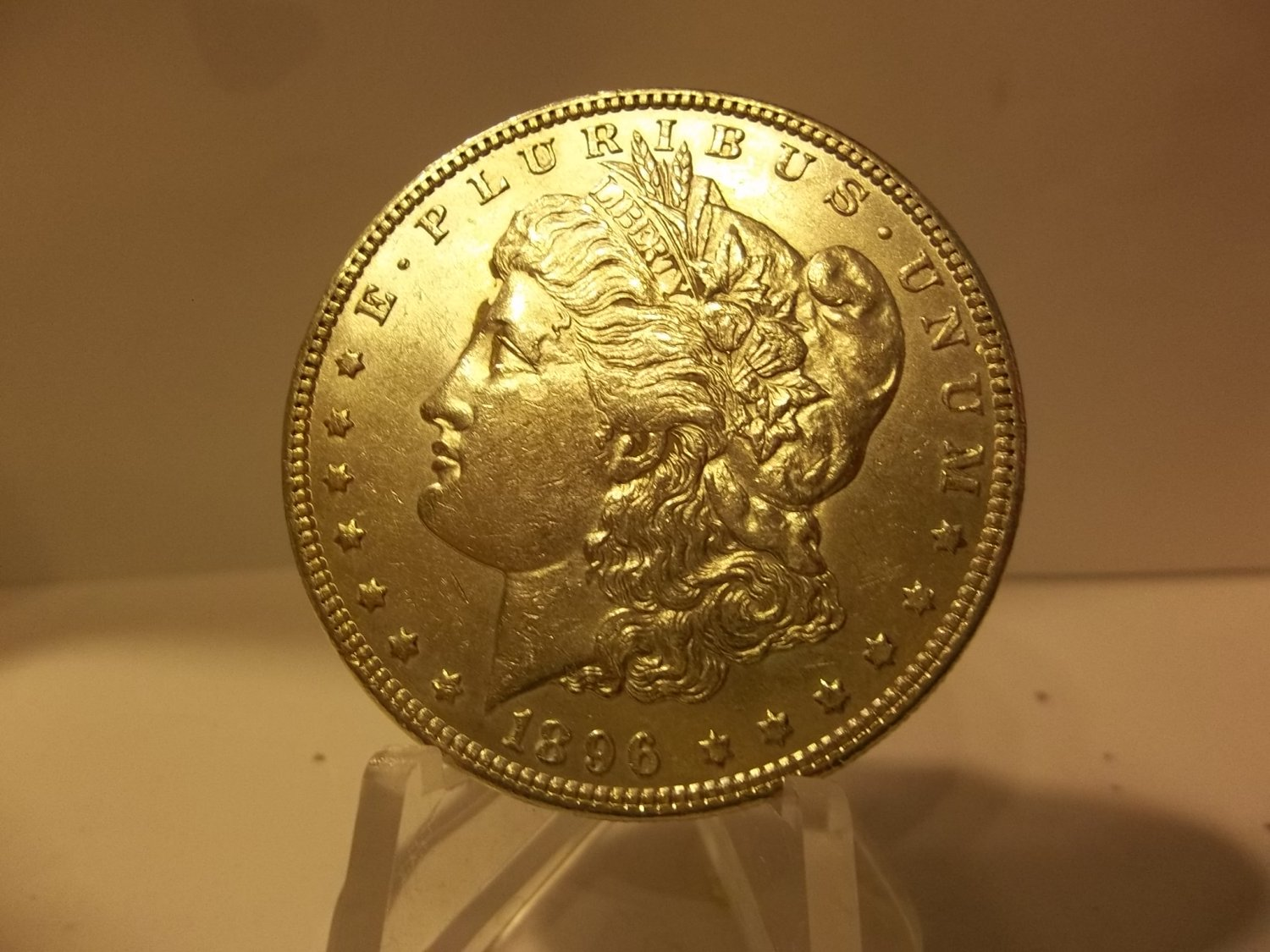 1896 #5 90% Silver Morgan Dollar.