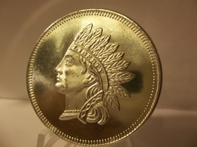 Silver Round Bullion - 1 Troy OZ .999 Fine Silver Proof Indian Head.
