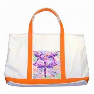 Custom Two Tone Canvas Tote Bag ORANGE Handles Handbag purse