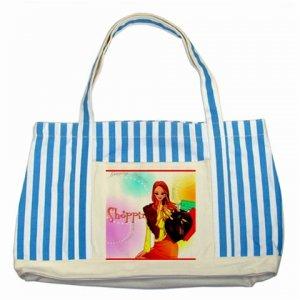 Custom Canvas Tote Bag Blue Stripes Handbag purse
