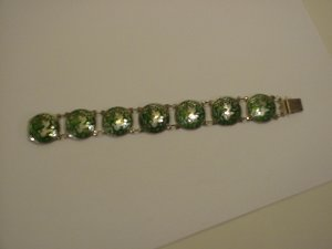 Siam Sterling Silver Emerald green enameled bracelet