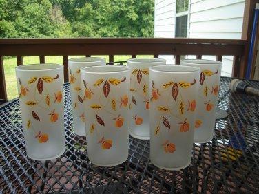 Set of 6 Autumn Leaf Jewel Tea glasses by Libbey