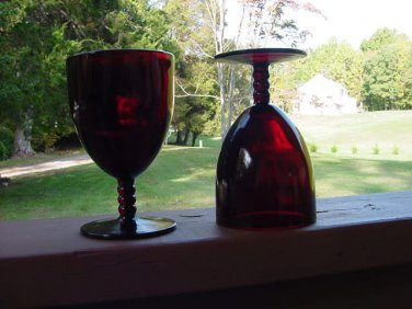 Anchor Hocking Royal Ruby Red Goblets beaded stem