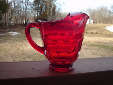 Viking Glass Georgian Ruby Red Pitcher with sticker