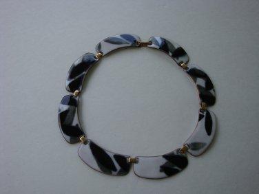 Modernist Kay Dunning Enamel on Copper Necklace white black gray