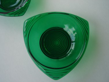 Anchor Hocking Forrest Green bon bon bowl three cornered