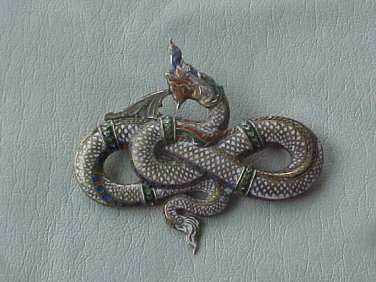 Mid 20th Century Siam Sterling Silver Enameled Dragon Pin Brooch