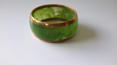 Vintage Bakelite Catalin Moss Green Bangle with Brass Accents