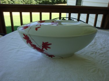 "Scarce Mikasa Pure Red China 14 3/8"" Oval Tureen With Lid Made in Portugal"
