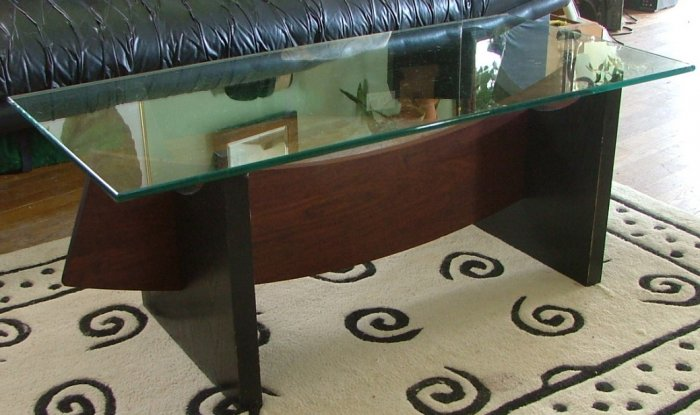 Glass Top Wood Coffee Table, Handcrafted