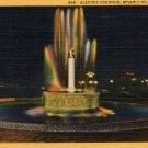 Beverly Hills California Postcard, Electric Fountain at Night, Full Color c.1931