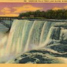 Niagara Falls New York Postcard, American Falls from Luna Island c.1932