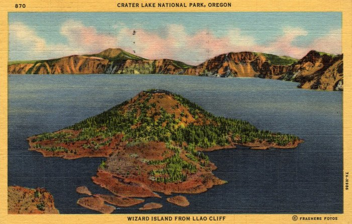 Oregon Postcard, Wizard Island in Crater Lake National Park c.1937