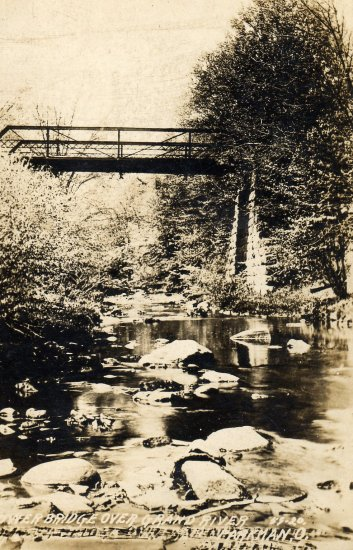 Parkman Ohio Postcard, Lower Bridge over Grand River, Black & White Real Photo c.1939
