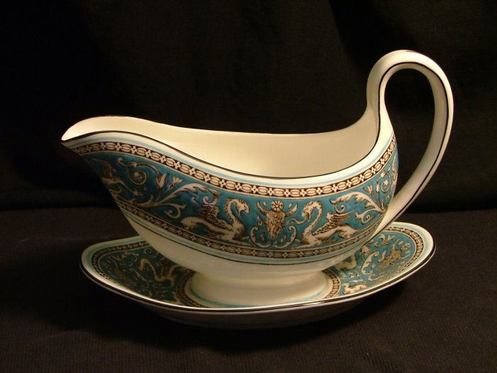 Wedgwood Fine Bone China Gravy Boat with Attached Underplate, Florentine Pattern in Turquoise c.1931