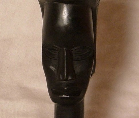 Hand Carved Dark Wood Primitive African Statue c.1960