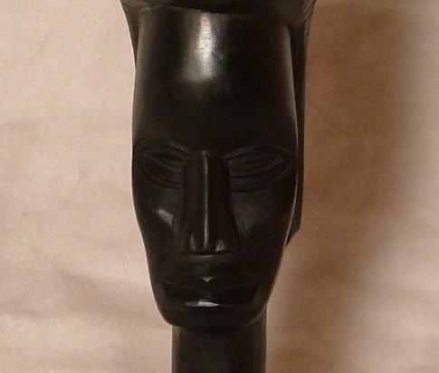Hand Carved Dark Wood Primitive African Statue c.1960