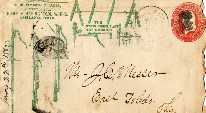 F.E. Myers Pump & Hay Making Tool Works, Sales Letter & Illustrated Logo Envelope c.1884