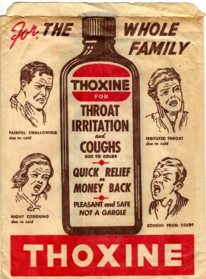 Red Hearts Tablets Paper Bag, Color Ads for Thoxine c.1940