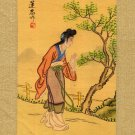 Japanese Print on Silk, Young Woman Walking c.1930